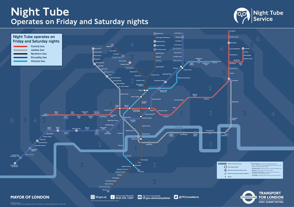 Tunnelbanan i London börjar med trafik dygnet runt