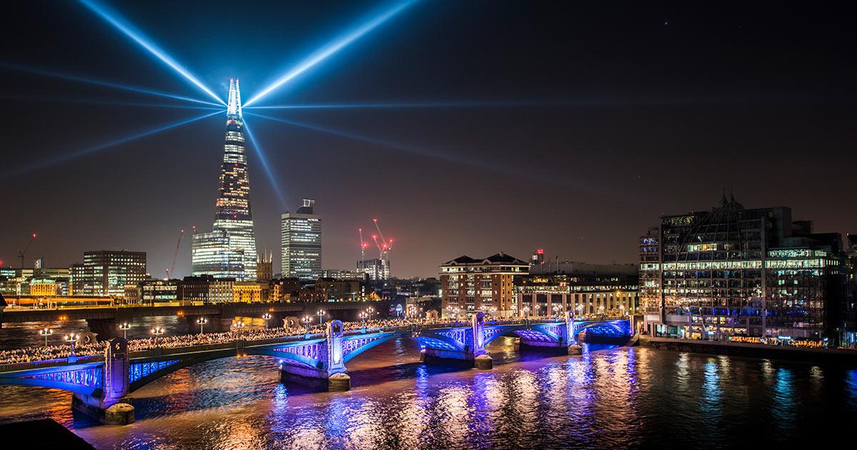 The Shard London at night